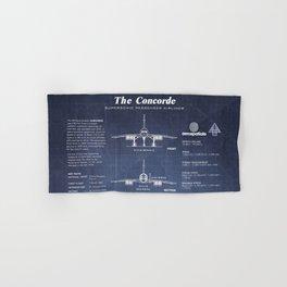 Concorde Supersonic Airliner Blueprint (dark blue) Hand & Bath Towel