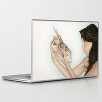 animal skull Laptop & iPad Skins featuring Confrontation, animal skull and human by Alexandra Bastien