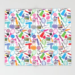 make up collection background (seamless pattern, beauty and makeup design) Throw Blanket