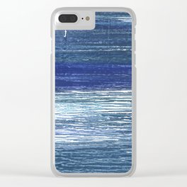 Metallic blue abstract watercolor Clear iPhone Case