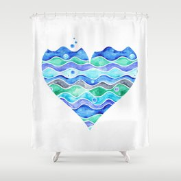 A Sea of Love (white) Shower Curtain