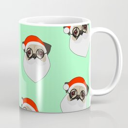 Santa Pugs Green Coffee Mug