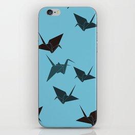 Blue origami cranes iPhone Skin