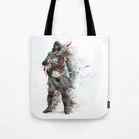 assassins creed Tote Bags featuring Assassins Creed - Black Flag by alonnusenbaum