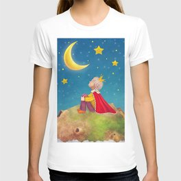 The Little Prince  on a small planet  in  night sky  T-shirt
