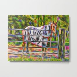 Handsome horse in rug at gate Metal Print