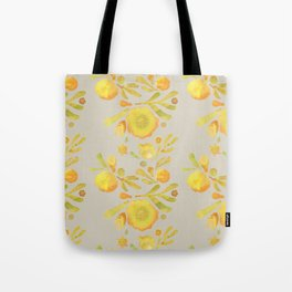 Granada Floral in Yellow on grey Tote Bag