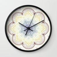 henna Wall Clocks featuring Mandala Henna by Liz Slome