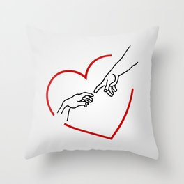 The creation of Adam- The hands of God and Adam within a red heart Throw Pillow