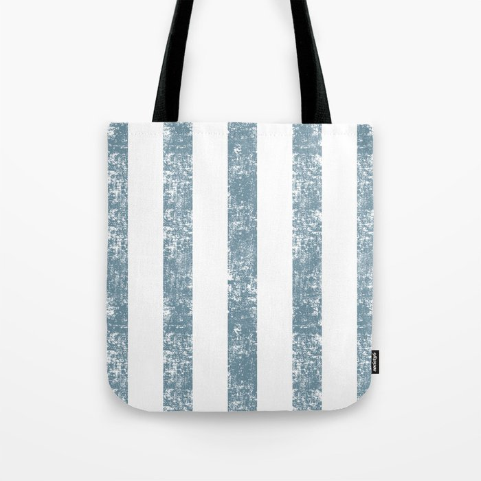 Maritime Navy Beach Pattern- Blue and White Stripes- Vertical - Tote Bag