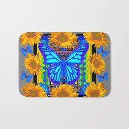 Black Grey Sunflowers Blue Butterflies Pattern Bath Mat
