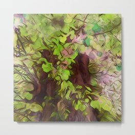 Old Tree Thick Branches Green & Purple Magic Metal Print