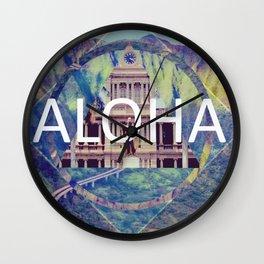 Aloha Blue Geometric Wall Clock