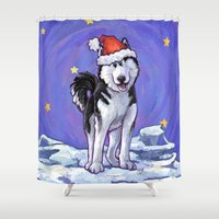 husky Shower Curtains featuring Husky Christmas by Imagine That! Design