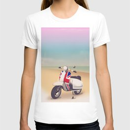 Union Jack Scooter Travel poster, T-shirt