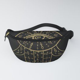 Hamsa Hand Gold on Black #1 #drawing #decor #art #society6 Fanny Pack