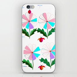 Many Colored Daisies with Ladybugs and Dragonflies iPhone Skin