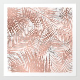Tropical modern faux rose gold palm tree leaf white marble pattern Art Print
