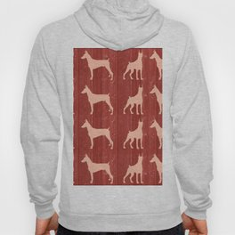 Red wooden board with dobermans shapes Hoody