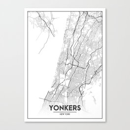 Minimal City Maps - Map Of Yonkers, New York, United States Canvas Print