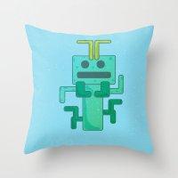 bug Throw Pillows featuring BUG by Annretro