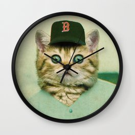Baseball Kitten #3 Wall Clock