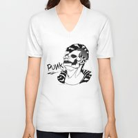 punk rock V-neck T-shirts featuring PUNK by Callum Longworth