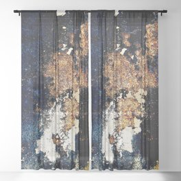 Alien Continents ruined wall texture grunge Sheer Curtain