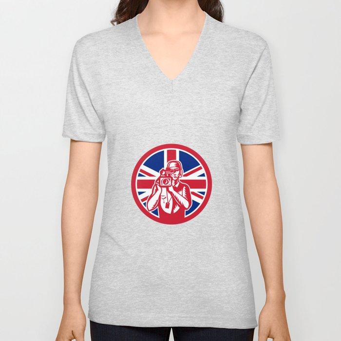 British Cameraman Union Jack Flag Icon Unisex V-Neck