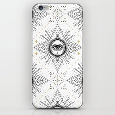 Sacred geometry seamless pattern with all seeing eye over white. iPhone & iPod Skin