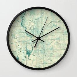 Indianapolis Map Blue Vintage Wall Clock