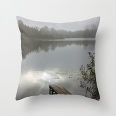 Mist on lake Throw Pillow