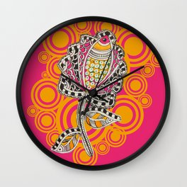 Madhubani - Fish Flower 1 Wall Clock