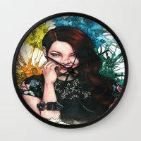 emma stone Wall Clocks featuring Emma Stone by catscratchproject