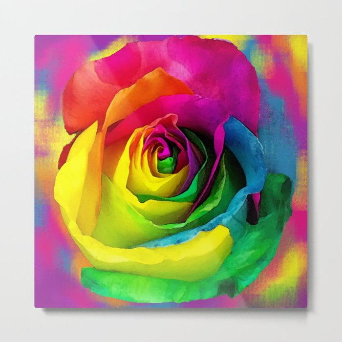 Rainbow Rose Colourful Background Metal Print