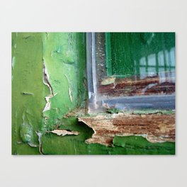 Vintage Green Window Frame 1 Canvas Print