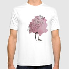 peonies White MEDIUM Mens Fitted Tee