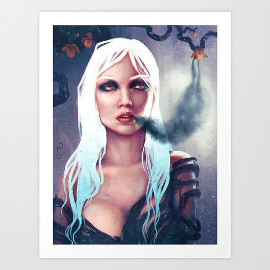 Flowers of the night fantasy digital painting Art Print
