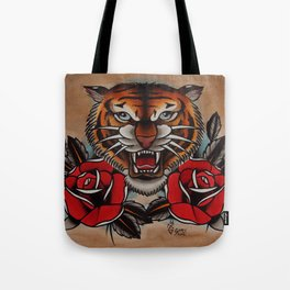 Old School Tiger and roses - tattoo Tote Bag