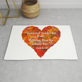 I Love Autumn—Red Aspen Leaf Heart 1, Brontë Quote Rug