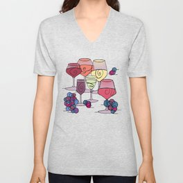 Wine and Grapes Unisex V-Neck