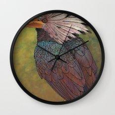 White Crested Hornbill Wall Clock