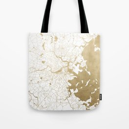 Boston White and Gold Map Tote Bag