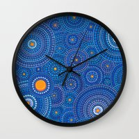 starry night Wall Clocks featuring Starry Starry Night by Elspeth McLean