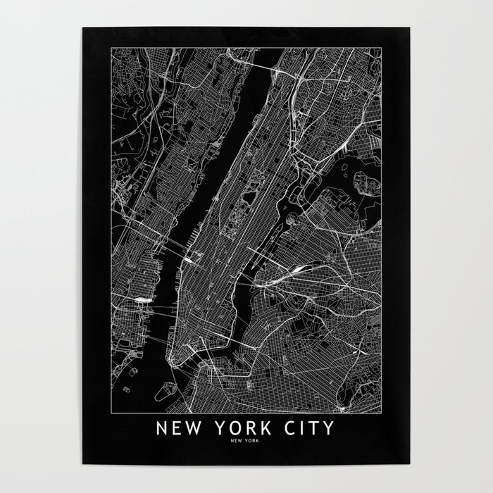 New York City Black Map Poster