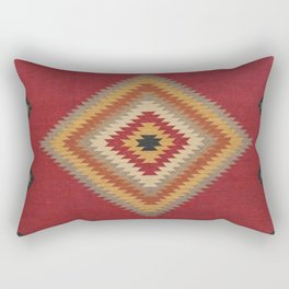 N14 - Red Anthropologie Oriental Moroccan Traditional Artwork. Rectangular Pillow