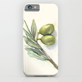 Olive Branch | Green Olives | Watercolor Illustration iPhone Case