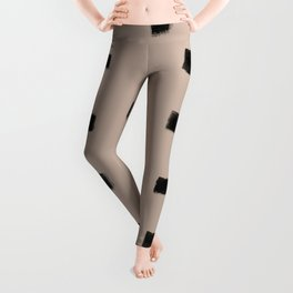Polka Strokes Gapped - Black on Nude Leggings