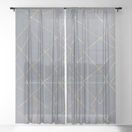 Gold Geometric Strokes Gray Gradient Modern Design Sheer Curtain