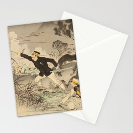 Mizuno Toshikata - The Great Battle of Ansong: The Valor of Captain Matsuzaki (1894) Stationery Cards